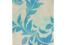 Vintage Blue Leaves Collection / The Vintage Blue Leaves Collection features ornate blue hand-painted leaves on a textured tan background with antique French handwriting for a romantic, vintage theme.
