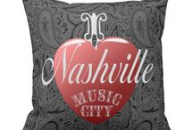 Nashville Home Decor / Unique collection of home decor items including throw pillows, clocks, kitchen towels, wall hangings and many other custom Nashville gifts and souvenirs. Original designs showcasing Nashville, TN and the music of Music City USA.