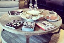 coffee tables and Mirrors / Marble, brass, metal
