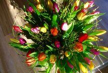 Jarní kytice / Tulipány, frezie, hyacinty.