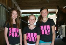 Show Pony Tees / Everyone wants a SHOW PONY! Our trendy, form-fitting shirts are guaranteed to get noticed! Made in the USA by American Apparel. Vintage Black with Hot Pink lettering. PG logo on the back.  Youth AND Adult sizes!
