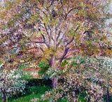 """""""Kukkivat saksanpähkinäpuut ja omenapuut..."""", Camille Pissarro"""