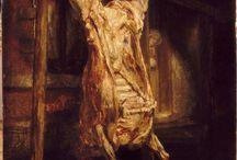 Rembrandt Harmensz. van Rijn - Leyde - 1606 -  Amsterdam,1669 / Le Boeuf écorché, 1665, 0,94x0,69m, Huile sur toile, Paris, Musée du Louvre. Sorte de Memento mori et de leçon de vanité?