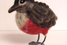 Needle felted birds with paper mache nest