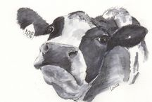 My cow paintings / This is a series of portraits of cows who live around my home.