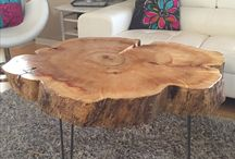 wood trunk table
