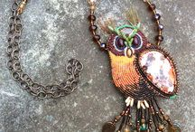Artisan Gemstone Bead Embroidery Jewelry / Artisan Gemstone Bead Embroidery Jewelry, beaded gemstone cuff bracelet, beaded gemstone cabochon pendant, bead embroidery bib necklace