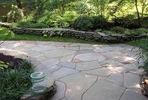 Patios + Pathways / Bluestone, flagstone, brick, concrete