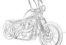 Drawings of motorcycles etc.