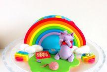 Tarta arcoiris con gatito / memcakesandcookies.com