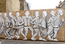 RUN by WIDEWALLS / RUN is a London based Italian artist whose works can be seen adorning on streets from China to Senegal. His recognisable style shows a level of detail and complexity rarely seen in street art today, evidenced through his vivid rendering of interlocking bodies in symbolic poses, pattern like, friezes in bright, arresting colours.