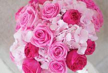 Buchet mireasa trandafiri rosii si roz / Buchet domnisoare onoare trandafiri rosii si roz