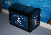 ARRR!! Pirate Themed Bedroom Ideas and Light Switches / Ideas For Decorating a Boys or Girls Pirate Themed Bedroom. Wallpaper, Bedding, Light Switches, Door Plaques, Wall Stickers, Lampshades. Beds. All Things Pirate Inspired.