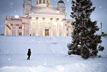 Suomi-Finland / Snowing on Helsinki, Finland  Cathedral called Helsingin tuomiokirkko