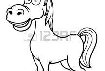 Caballos para imprimir y colorear. / Divertidas imágenes de caballos para dibujar y colorear.