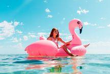 Opblaasbare dingen / Flamingo's, eenhoorn's, donut's. Allemaal te zien.