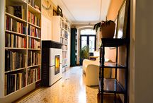 Wood Pellet Stoves and Bookcase Interior Design Inspiration / Pictures of wood pellet stoves and bookcases installed in Homes. #interiors #interiordesign