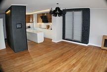 Realizacja łazienki i podłogi drewnianej w salonie z drewna Dąb szczotkowany, olejowany / Realizacja łazienki i podłogi drewnianej w salonie z drewna Dąb szczotkowany, olejowany w Zielonej Górze