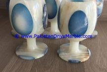 ONYX WINE SHERRY GLASSES SET COLORED DECORATIVE STONE GLASSES, UNIQUE CARVED