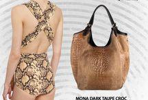 Mona dark croc effect Italian leather hobo