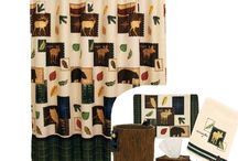 Rustic Lodge Bath Collection / Explore Critters Shower Curtain & Bath Accessories by Bacova features adorable Black Bears, Moose and other woodland animals in a country setting.