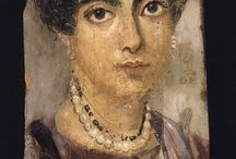 Egypt مصر Al Fayum Portraits. Ancient Egyptian Art /  Roman Era Funerary Portrait Painting Fayum and elsewhere: Er-Rubayat, Akhmim, Hawara, Antinoopolis, etc