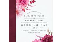 Marsala - Burgundy and Blush Autumn Fall Wedding / Burgundy and blush pink fall watercolor floral wedding suite featuring autumn dahlias and leaves.