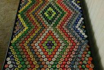 quadro com tampas de refrigerantes
