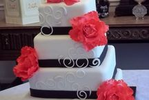 black and coral wedding cake, so love this. And with our True Romance topper :)