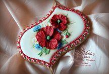 Flowers / royal icing cookies gingerbread, honeybread,  courses mézeskalács