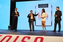 True Sports TV Channel Launch / True Sports Channel Launch at TOISA 2017. At Times of India Sports Awards (TOISA) 2017, the COO Manish Rach announcing the launch of True Sports channel with the CEO Zahir Rana and actress Neetu Chandraa.