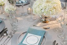 Table settings with a blue and white theme