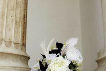 black & white bouquets