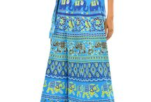 Fashiana - Cotton Wrap Around Skirt / Fashiana Women's Block Printed Cotton Mini Wrap Around Sarong Skirt