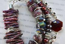 Wine color beads bracelet idea