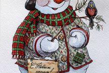 Snowman dipinti