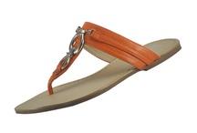 Rasteirinha de couro metal laranja / Sandália rasteirinha de couro