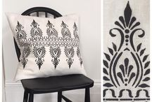 Stencilled cushions and fabrics