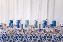 Artistic Watercolour 21st Birthday / In hues of blue and elements of white, this candy bar was styled for our twin clients 21st Birthday celebration, with an emphasis on being neither masculine or overly feminine, to match each twins style. This artistic candy bar was inspired by the custom made watercoloured floral print cloth, matching watercoloured custom chocolate wraps and mini candy jar accents. A sweet treat for all guests at this milestone birthday.   http://www.enchantedempire.com.au/artistic-watercolour-21st-birthday/