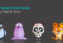 BodyICE Kids: ice / heat packs just for little ones / BodyICE Kids are a range of friendly character gel bead packs designed to cool and soothe knocks and bruises and/or provide a warm cuddle. You can even use these friendly animals to keep lunch and snacks cool and fresh! The fun, flexible characters are non-toxic, reusable and include straps for limbs and head.