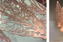 Copper Leaf Sculptures | Our Work / A set of three free-standing leaf sculptures, 0.9 to 1.5 metres high, laser-cut in copper from an original photograph, for use as decorations in a private garden.