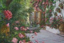 Patios de Córdoba / Mis pinturas de patios cordobeses: color, luz, intimidad, flores y arquitectura poppular... Son Patrimonio Inmaterial de la Humanidad por la Unesco. Que los disfrutéis.