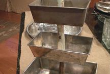 Vintage/old baking trays, breadpans etc  put to good use...
