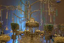 Winter Wonderland Candy Buffet / Frozen Themed White, blue and silver candy buffet