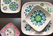Stippen op servies met porselein verf