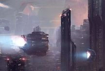 Sci-fi city and space