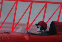 PONT DES SOUPIRS / VOITURE/Ferrari ,Fangio/course pont DES SOUPIRS/PEINTURE  Huile sur toile  110x80