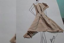 sketch fashion monochrome stripe style / It's all about my idea for fashion sketch.
