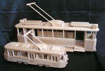 Strassenbahnen Spielzeug aus Holz