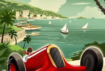 retro, vintage racing art